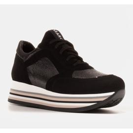 Marco Shoes Zapatillas ligeras sobre suela gruesa de piel natural negro 1