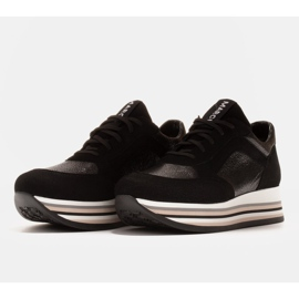 Marco Shoes Zapatillas ligeras sobre suela gruesa de piel natural negro 3