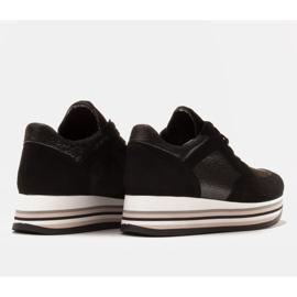 Marco Shoes Zapatillas ligeras sobre suela gruesa de piel natural negro 6