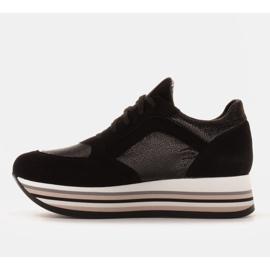 Marco Shoes Zapatillas ligeras sobre suela gruesa de piel natural negro 4
