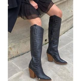 Marco Shoes Botas altas para mujer, botas vaqueras, estampado croco negro 8