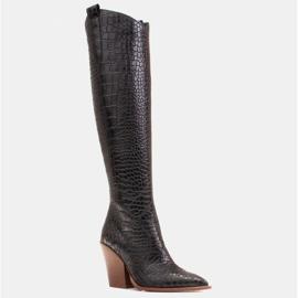 Marco Shoes Botas altas para mujer, botas vaqueras, estampado croco negro 1