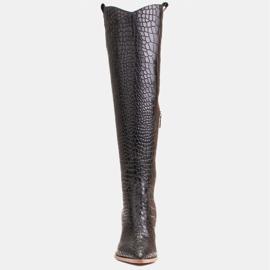 Marco Shoes Botas altas para mujer, botas vaqueras, estampado croco negro 2