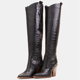 Marco Shoes Botas altas para mujer, botas vaqueras, estampado croco negro 4