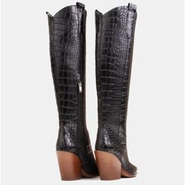 Marco Shoes Botas altas para mujer, botas vaqueras, estampado croco negro 5
