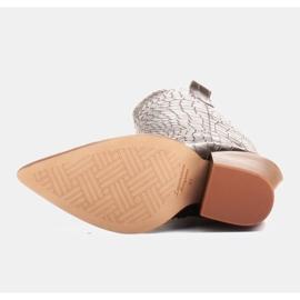 Marco Shoes Botas altas para mujer, botas vaqueras, estampado croco negro 6