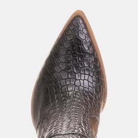 Marco Shoes Botas altas para mujer, botas vaqueras, estampado croco negro 7