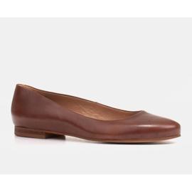 Marco Shoes Bailarinas de piel flor marrón, pulidas a mano 1