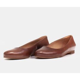 Marco Shoes Bailarinas de piel flor marrón, pulidas a mano 6