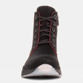 Marco Shoes Botas deportivas de mujer nobuck con inserciones rojas negro 1