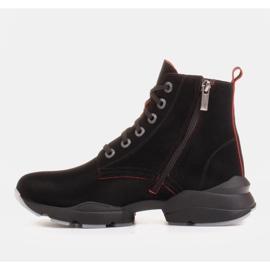 Marco Shoes Botas deportivas de mujer nobuck con inserciones rojas negro 2