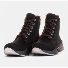 Marco Shoes Botas deportivas de mujer nobuck con inserciones rojas negro 3