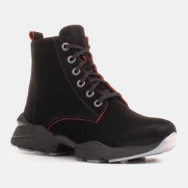 Marco Shoes Botas deportivas de mujer nobuck con inserciones rojas negro 6