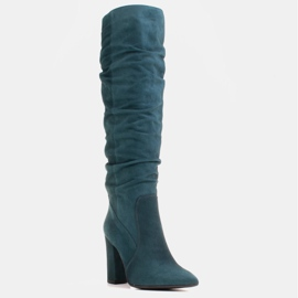 Marco Shoes Botas altas verdes arrugadas de ante natural 1