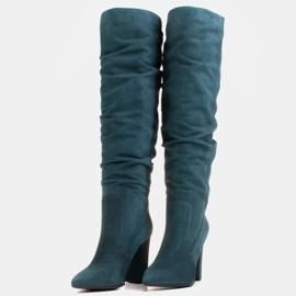 Marco Shoes Botas altas verdes arrugadas de ante natural 5