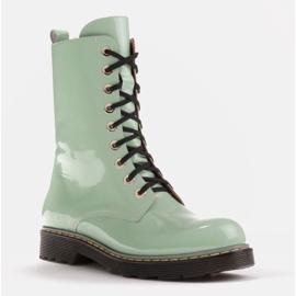 Marco Shoes Botines altos, botas atadas a suela translúcida verde 1