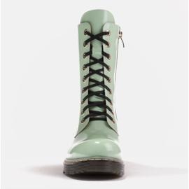 Marco Shoes Botines altos, botas atadas a suela translúcida verde 2