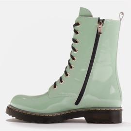Marco Shoes Botines altos, botas atadas a suela translúcida verde 3