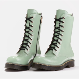 Marco Shoes Botines altos, botas atadas a suela translúcida verde 4