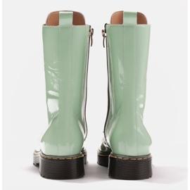 Marco Shoes Botines altos, botas atadas a suela translúcida verde 5