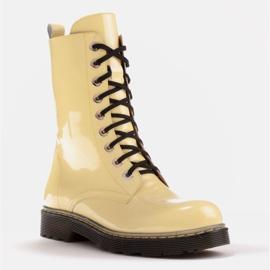 Marco Shoes Botines altos, botas atadas a suela translúcida amarillo 1