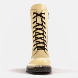Marco Shoes Botines altos, botas atadas a suela translúcida amarillo 2