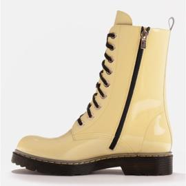 Marco Shoes Botines altos, botas atadas a suela translúcida amarillo 3