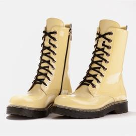 Marco Shoes Botines altos, botas atadas a suela translúcida amarillo 4