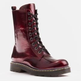 Marco Shoes Botines altos, botas atadas a suela translúcida rojo 1