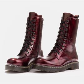 Marco Shoes Botines altos, botas atadas a suela translúcida rojo 4